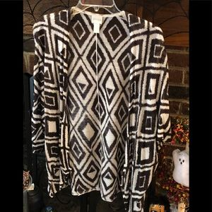 Chico's cardigan brown and white print.